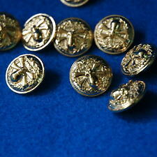 10 Sewing Buttons Craft 18mm Metal Shank Vintage-Like Craft Round Gold Diy Lots