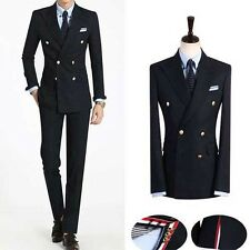 Premium for mens Dress casual Double Breasted 2-piece set Dandy Navy suits 244