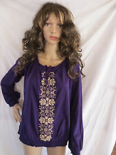 ST. JOHN'S BAY Women's Natural Embroidered Peasant Boho Blouse $30 NWT