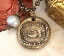 Hearty Honorable Friendship True Friend Bronze Pearl Necklace ~ Wax Seal Jewelry