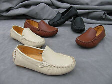 Hot Sell Boy's Girl's Genuine Leather Rubber Outsole Slip On Flats Casual Shoes