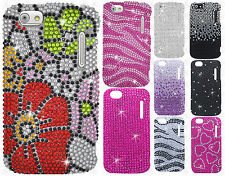 Cricket Alcatel Authority Crystal Diamond BLING Hard Case Cover + Screen Guard
