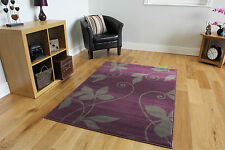 Elegant Purple Grey Floral Fireplace Rugs Soft Non Shed Cheap Motif Area Carpets