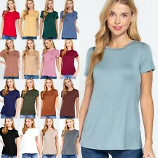 NEW ELBOW 3/4 SLEEVE V-NECK WOMEN'S BASIC TOP BLACK WHITE GRAY GREEN SML #T9671