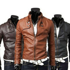 Sexy Men's Stand Collar Slim Fit Synthetic Leather Short Coat Jacket Black S M L
