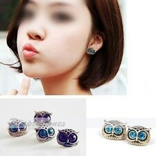 Cute Lovely Vintage Rhinestone Big Eye Owl Shape Earring Ear Stud Wholesale