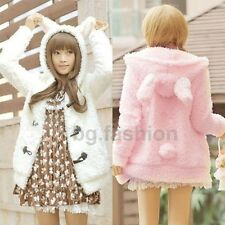 2014 Women Warm Bunny Ears Fleece Fluffy Horn Button Hoodies Outwear Coat Jacket