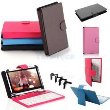 "Colorful 7"" Velcro Cross Pattern Leather USB 2.0 Keyboard Case Cover for Tablet"