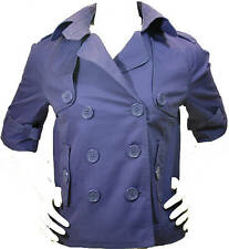 Junior Women Cotton Purple Trench Peacoat Jacket Lined 3/4 Sleeve QS by s.Oliver