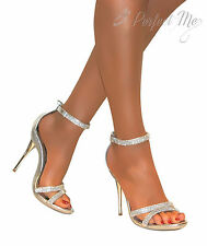 CHAUSSURES FEMME CHEVILLE SANDALES TALONS MARIAGE MARIEE STRASS ARGENT 3-8