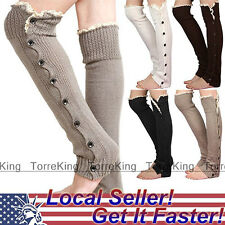 Womens Knee High Knit Flat Button Down Crochet Lace Trim Leg Warmers Boot Socks