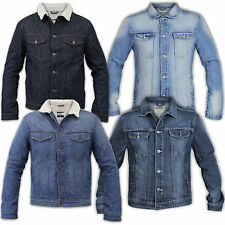 Mens Jacket Holmes & Co Sherpa Fleece Denim Jeans Cotton Collared Button Casual
