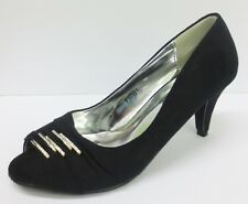 Spot On F10151 Ladies Black Court shoes