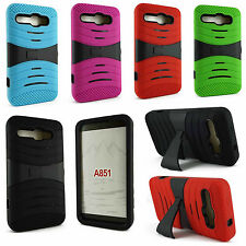 For Alcatel One Touch Sonic A851L Heavy Duty Hard Hybrid Kickstand Case Cover