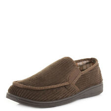 MENS DR LIGHTFOOT WARM COSY FLEECE LINED SLIP ON SLIPPERS SHOES MOCASSINS SIZE