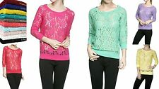 NEW CUTE COMFY RAGLAN 3/4 SLEEVE CROCHET LACE SEE THROUGH TOP BLOUSE S M L #8886