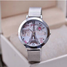 Fresh Women Eiffel Tower Stainless Steel Round Dial Mesh Quartz Wrist Watch SKCA
