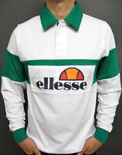 Ellesse Heritage 80s Retro Long Sleeve Rugby Shirt in White & Green SALE was £50