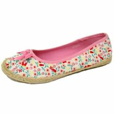 GIRLS KIDS SLIP-ON PINK FLOWER FLORAL PUMPS DOLLY CANVAS FLAT SHOES SIZES 8-6