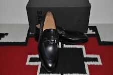 Bally Scribe Aronn Black Calf Hand Made in Switzerland Dress Loafer Shoes