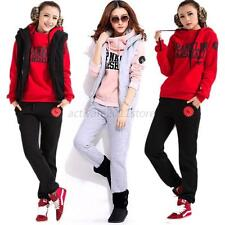 Korea Casual Women's Sports Hoodies Suit Tracksuit Hooded Coat+Vest+Pants 3pcs