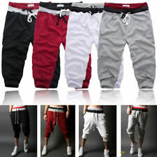 New Mens 3/4 Knee Casual Jogger Sport Shorts Baggy Gym Harem Pants Rope Trousers