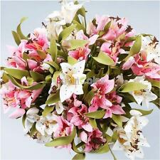 1/6/12 X Artificial Fake Flower Lily Plant Bouquet for Home Wedding Decoration