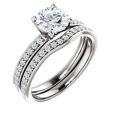 1ct 6.5mm Rounf FB Moissanite Solid 14K White Gold Engagement Ring Set