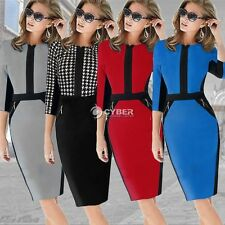 Women Color block Cotton Stretch Tunic Wear To Work Party Pencil Sheath Dress