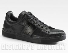 GUCCI Mens black GG IMPRIME Leather trim Web ACE Sneakers shoes NIB Authentic!