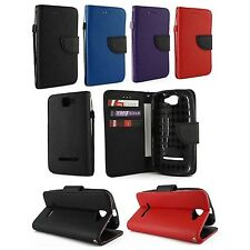 For BLU Dash 4.5 D310A Premium Leather Wallet Case Cover w/ Card Holder & Strap