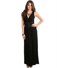 Sexy Party Cocktail Club Cruise Maxi Dress w/Fabric Roses, Black or Red
