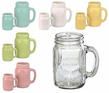 DRH Oasis Mason Beverage Drink Canning Glass or Coloured Jars Glasses Cups Mugs