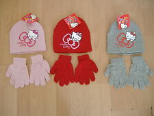 NEW GIRLS HELLO KITTY HAT AND GLOVES SET PINK RED GREY AGES 2-4 4-8 YEARS
