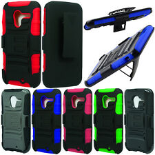 For Motorola Moto X Phone XT1058 Case HYBRID KICKSTAND Holster Rubber Hard Cover
