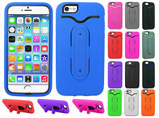 Apple iPhone 6 4.7 Rubber Hybrid HARD Cover Case Snap Tail STAND + Screen Guard