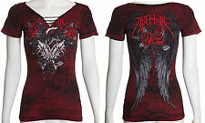 Archaic AFFLICTION Womens T-Shirt CARTRIDGE Wings Tattoo Biker UFC Sinful L $36