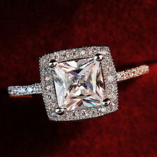 White Gold Plate Women Princess Cut Swarovski Crystal Square Engagement Ring R3