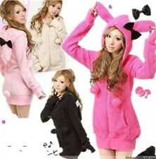 Fashion Korean/Japan Gal Cute Womens Kawaii Rabbit Ear Hooded Tail Jacket Coat
