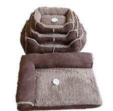 World of Pets Small Medium Large Corner Sherpa Micro Suede Pet Bed Fleece Lining