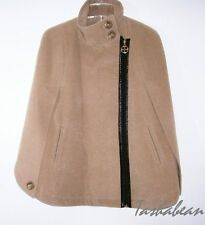 IMAN Global Chic Classic Couture Luxurious Cape with Patent Trim RED or CAMEL
