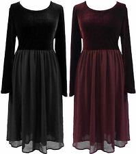 PLUS SIZE 14-24  BLACK BURGUNDY VELVET GOTHIC WENCH GHOST FITTED TOP ZIP DRESS
