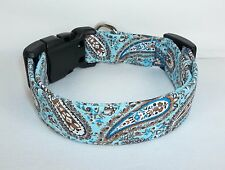 Boutique Dog Collar custom hand made adjustable Blue Brown Paisley fabric S - XL