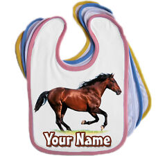 BROWN HORSE PERSONALISED BABY BABIES BIB - ANY NAME/TEXT/ EDGE COLOUR - **GIFT**