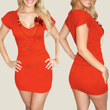 Fitted Ruched Badycon Evening Party Club Mini Dress co9748 Orange