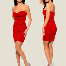 Ruched Strapless Evening Party Night Club Dress co9687  Red