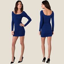 Long Sleeves Scoop-neck Jersey Day Night Party Dress co9730 Cobalt Blue