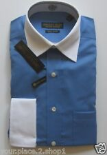 Donald Trump Mens Two Tone Blue No Iron French Cuff No-Iron Dress Shirt