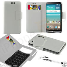 White Leather Suction Wallet Flip Mobile Phone Case For Various LG Phones