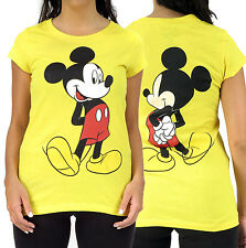 Disney Standing Mickey Mouse Front & Back Yellow Juniors Graphic T-Shirt Top